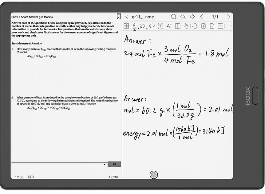 Onyx Boox Note 2 - porównanie dokumentów